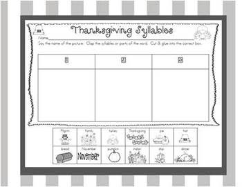A Thanksgiving Syllable Match Up