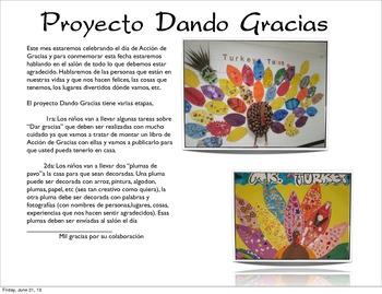 A Thanksgiving project (Spanish). Proyecto Día de Acción de Gracias