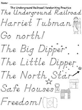 A+ The Underground Railroad Handwriting Practice
