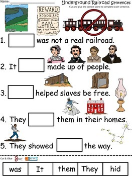 A+ The Underground Railroad Sentences: Fill In The Blank