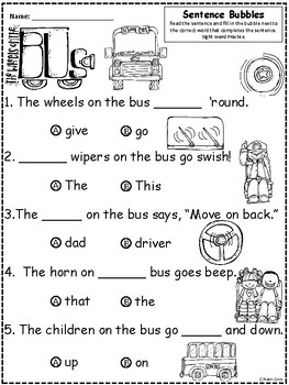 A+ The Wheels On The Bus: Fill In the Blank.Multiple Choice Sight Word Sentences