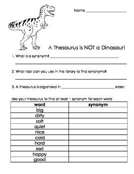 A Thesaurus is NOT a Dinosaur Worksheet