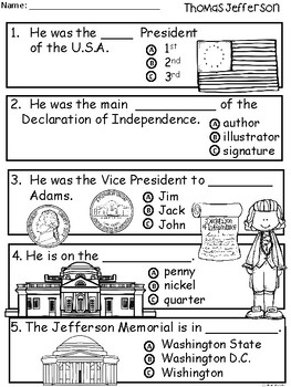 A+ Thomas Jefferson Comprehension For Guided Reading...American Presidents