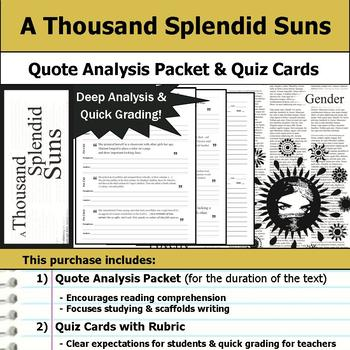 A Thousand Splendid Suns - Quote Analysis & Reading Quizzes