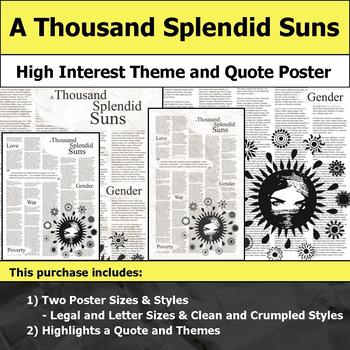 A Thousand Splendid Suns - Visual Theme and Quote Poster for Bulletin Boards
