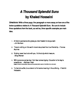 A Thousand Splendid Suns By Khaled Hosseini Objective And Essay Tests