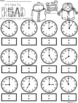 A+ Time To Read Analog Clock & Digital Clock Work (Hour & Half Hour)