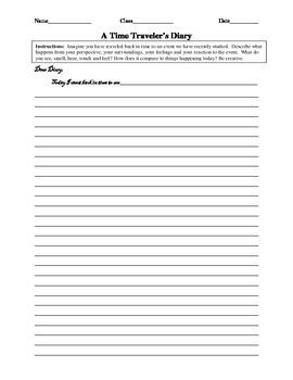 A Time Traveler's Diary Worksheet