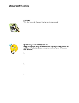"""A Time to Talk""  reciprocal teaching worksheet"