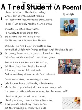 A Tired Student (Poem) Text & Question Set - FSA/PARCC-Style ELA Assessment