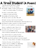 A Tired Student (Poem) Text & Question Set - FSA/PARCC-Style ELA Assessment