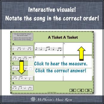 Soprano Recorder Song ~ A Tisket A Tasket Interactive Visuals {Notes EGA}