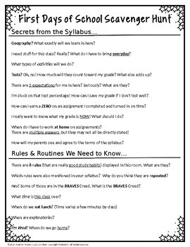 A Totally Editable First Days of School Classroom Scavenger Hunt