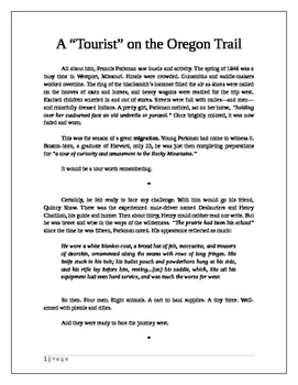 "A ""Tourist"" on the Oregon Trail"