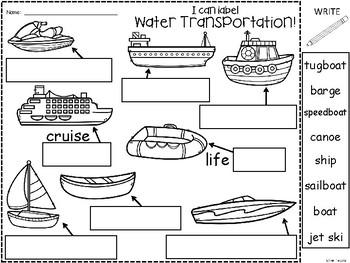 A+ Transportation Labels Set 3: I Can Label Water Transportation