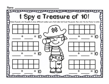 A Treasure of Ten! Using a 10 frame to make pairs of 10 (Pirate Theme)