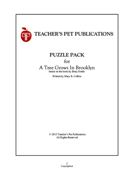 A Tree Grows In Brooklyn Puzzle Pack - Activities, Games, Puzzles
