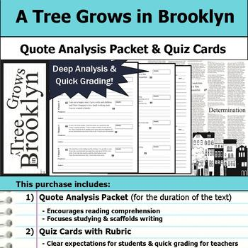 A Tree Grows in Brooklyn - Quote Analysis & Reading Quizzes