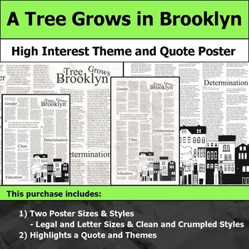 A Tree Grows in Brooklyn - Visual Theme and Quote Poster for Bulletin Boards