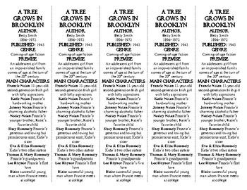 A Tree Grows in Brooklyn ed. of Bookmarks Plus: Fun Freebie/Handy Reading Aid!