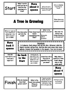 """""""A Tree Is Growing"""" Comprehension Game Board- Journeys story 3rd grade"""