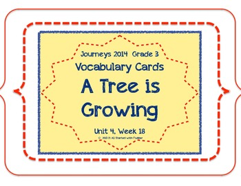 A Tree Is Growing, Vocabulary Cards, Unit 4, Lesson 18, Journeys 3rd Grade
