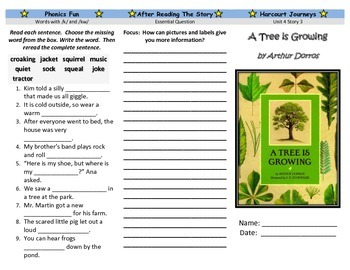 A Tree is Growing Trifold- Harcourt Journeys: Grade 3, Unit 4, Lesson 3
