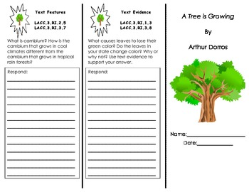 A Tree is Growing tri-fold/ 3rd Grade Journeys HMH Common Core