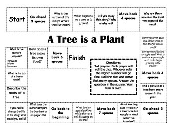 """A Tree is a Plant"" Comprehension Game Board- Journeys story 1st grade"