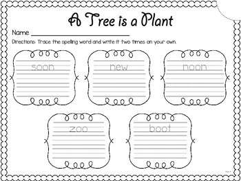 A Tree is a Plant {spelling, writing, and phonics practice}