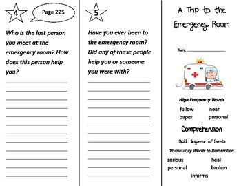 A Trip To the Emergency Room Trifold - Treasures 2nd Grade