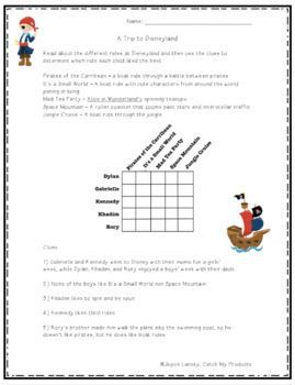 Disneyland Logic Puzzle / Disney Brain Teaser