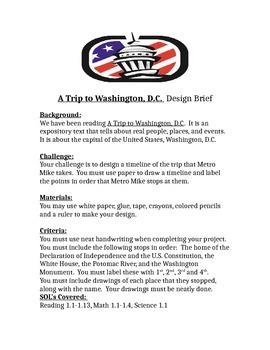 A Trip to Washington DC STEM Children's Engineering Design Brief