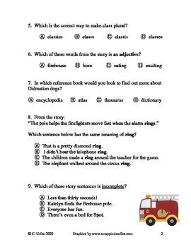 A Trip to the Firehouse Language Arts Test/Quiz ~ Houghton Mifflin