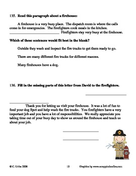 A Trip to the Firehouse ~ Wendy C. Lewison ~  Language Arts Workbook