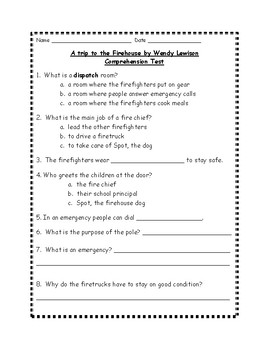 A Trip to the Firehouse by Wendy Lewison Comprehension Test