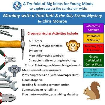 A Try-fold for Cross Curric Fun-Monkey with a Tool belt&the Silly School Mystery
