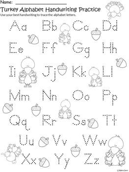 A+ Turkey Alphabet Handwriting Practice