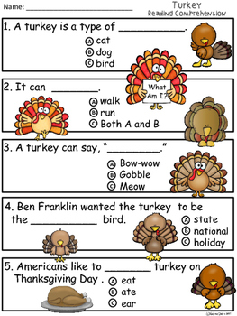 A+ Turkey Comprehension:Differentiated Instruction For Guided Reading