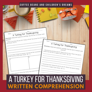 A Turkey For Thanksgiving Comprehension Pack