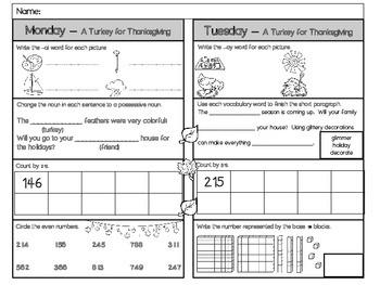 A Turkey For Thanksgiving Homework - Scott Foresman 2nd Grade