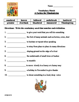 A Turkey For Thanksgiving Selection Test Vocab Match and More