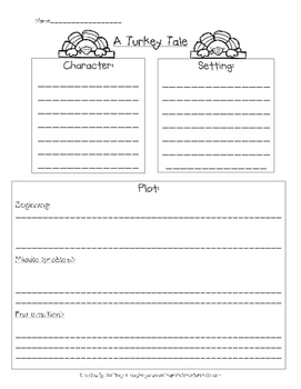 A Turkey Tale - Writing Planning Sheet