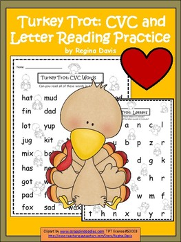 A+ Turkey Trot: CVC Words And Letter Reading Practice