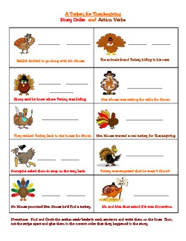 A Turkey for Thanksgiving Action Verbs and Story Order Activity