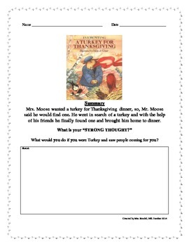 """A Turkey for Thanksgiving By Eve Bunting """"Strong Thought"""" Writing"""