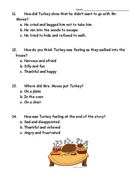A Turkey for Thanksgiving Comprehension Quiz