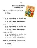 A Turkey for Thanksgiving Comprehension Quiz