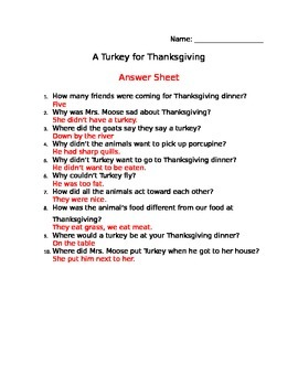 A Turkey for Thanksgiving Comprehension Sheet