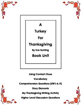 A Turkey for Thanksgiving Reading Book Unit